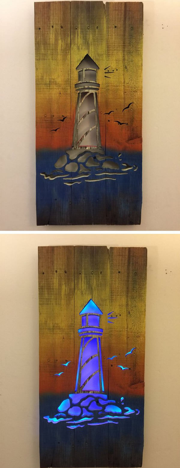 Pallet light house art