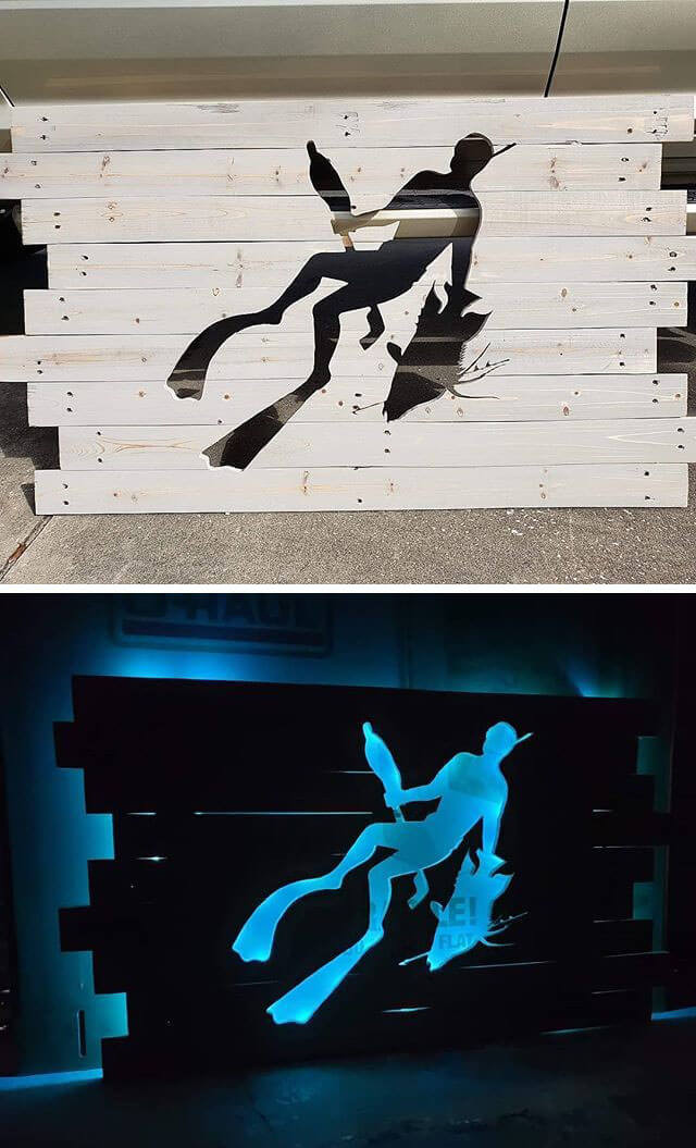 Pallet Storage cabinets And Glowing wall Art