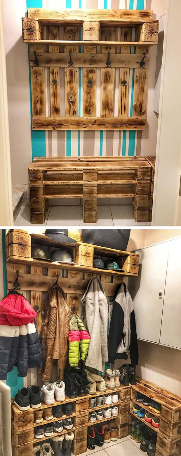 Pallet shelf with hooks
