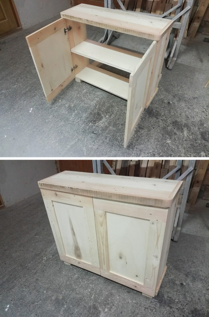 pallet side table with storage boxes