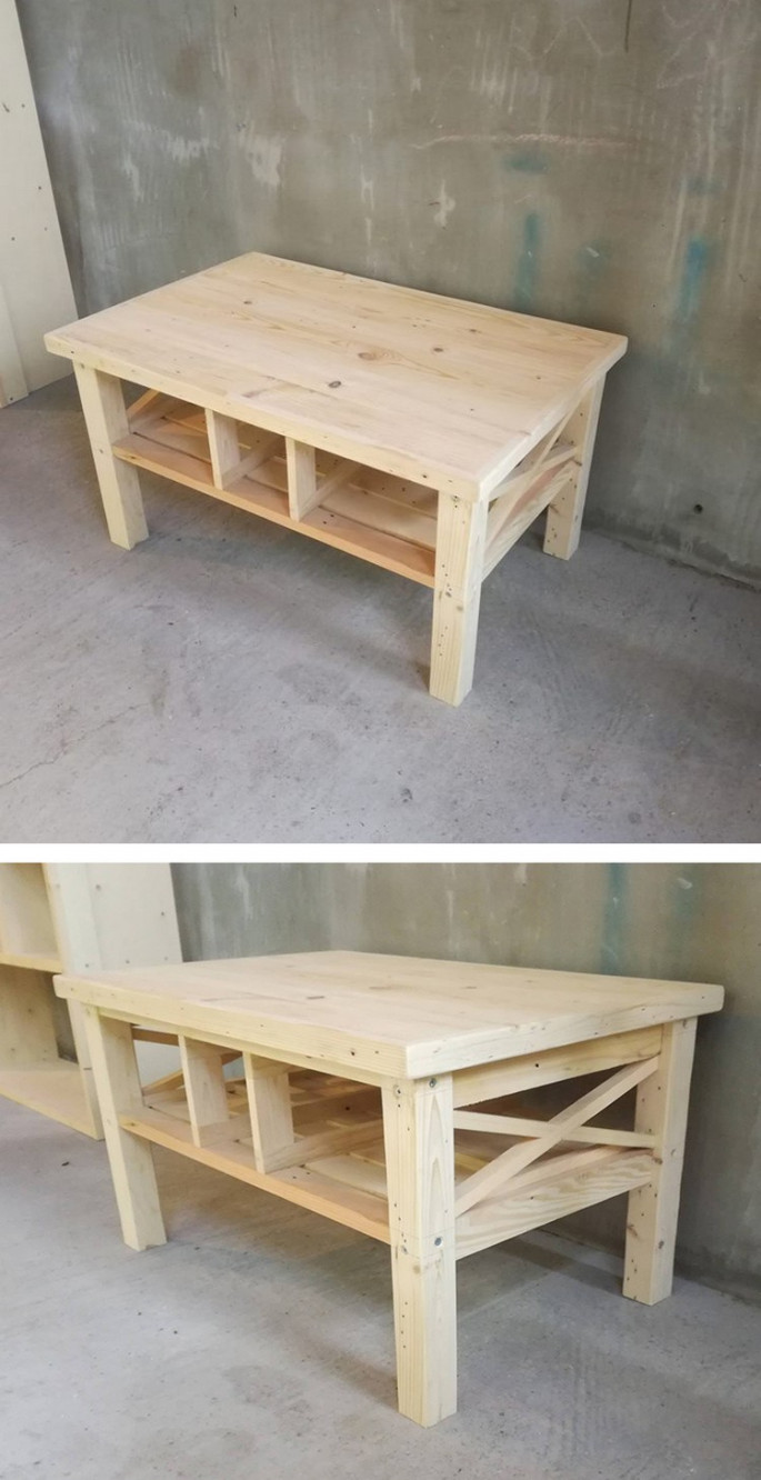 Pallet table ideas with storage