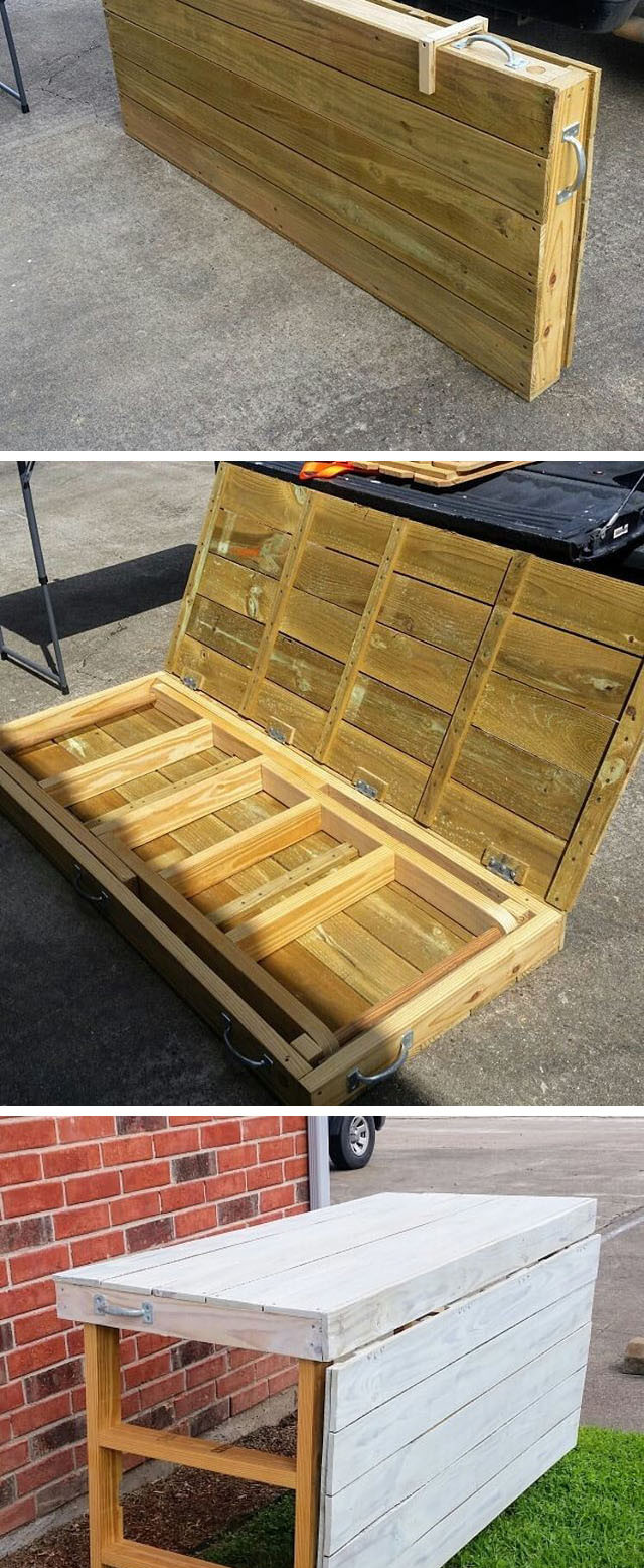 Pallet foldable display table