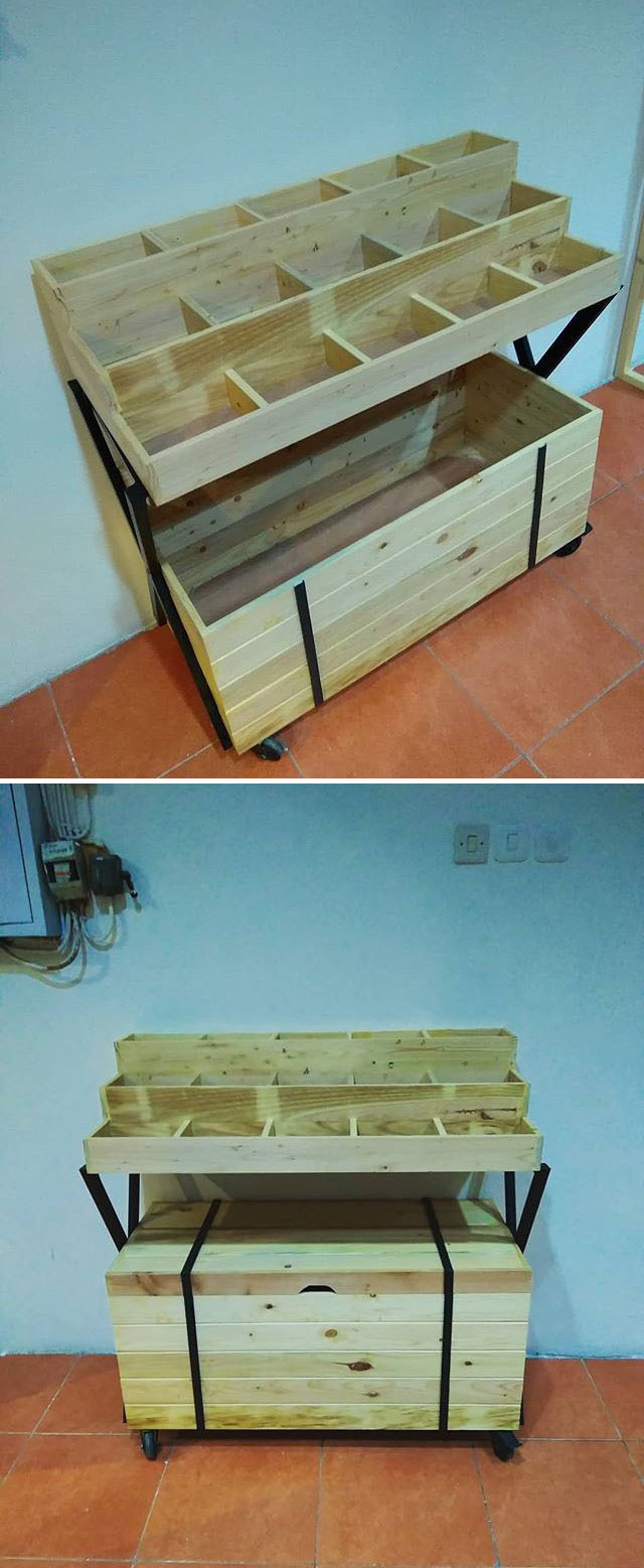 pallet storage bench with boxes
