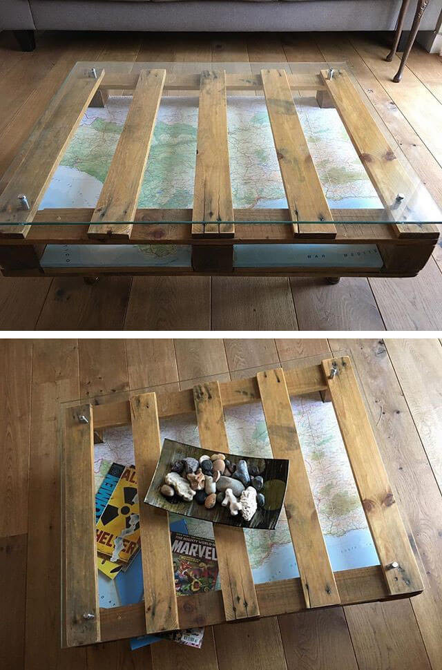 Pallet map coffee table