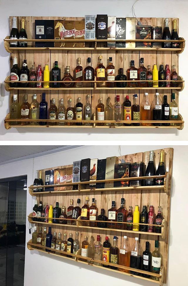 Pallet wine shelf
