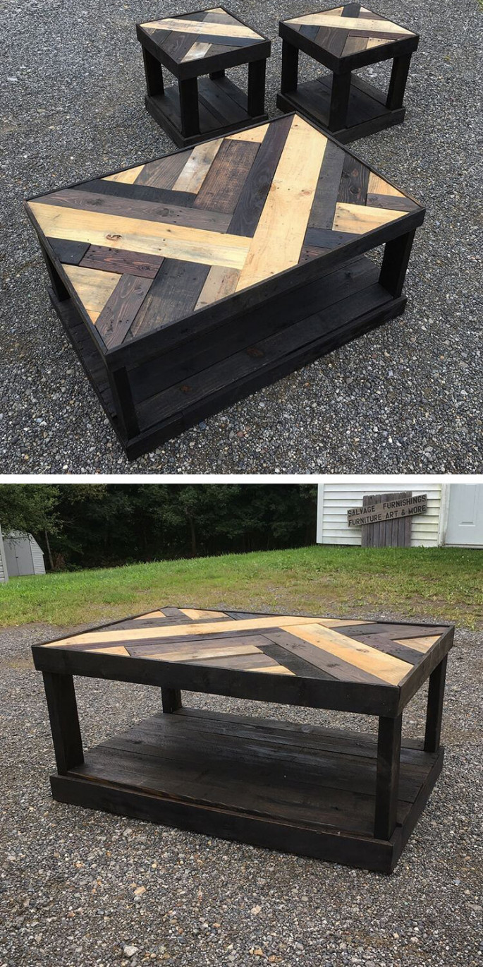 wooden pallet table with small stools