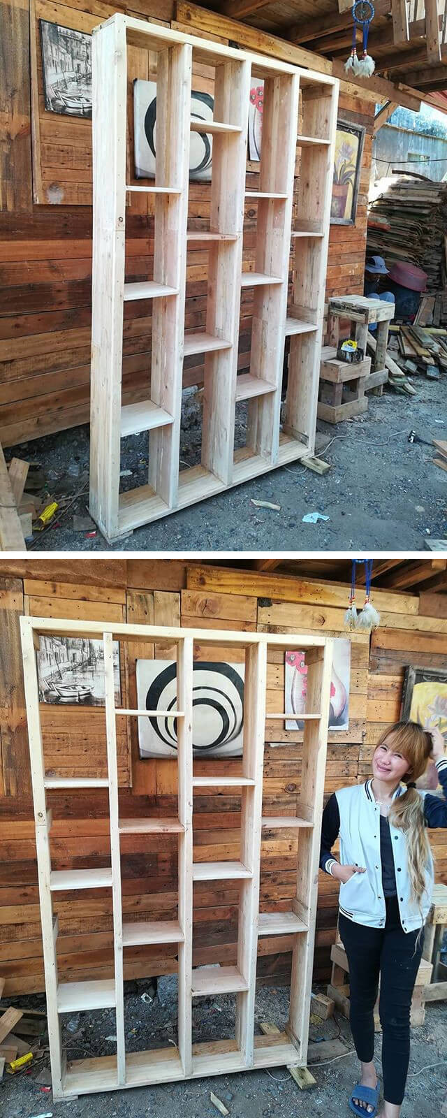 Pallet Wall Shelf With Multiple Storage Layer