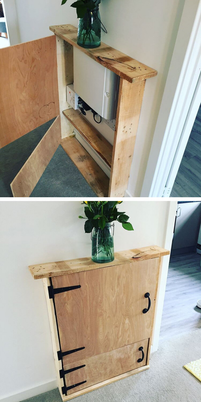 pallet floor wall shelf with storage