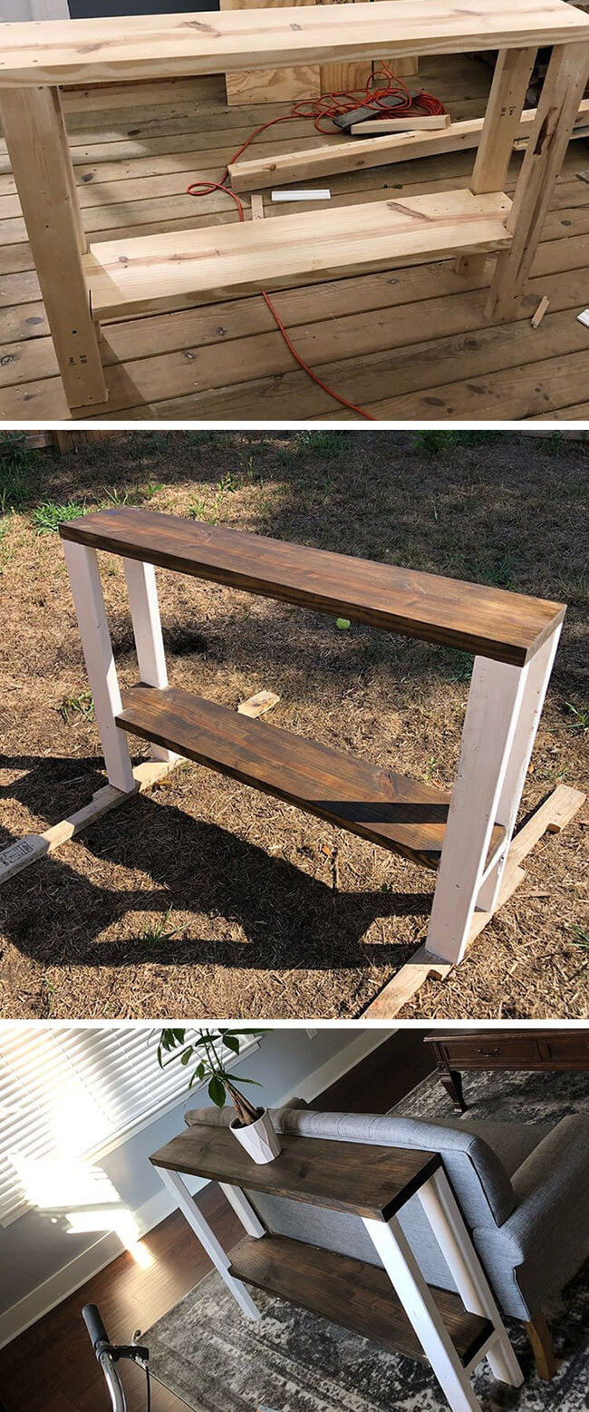 pallet side table with sofa set