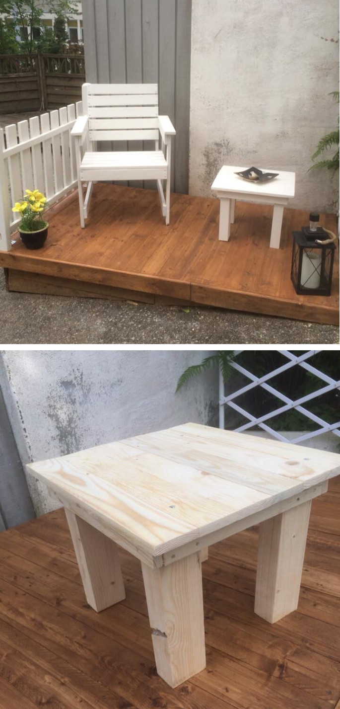 pallet chair with small table on garden for kids
