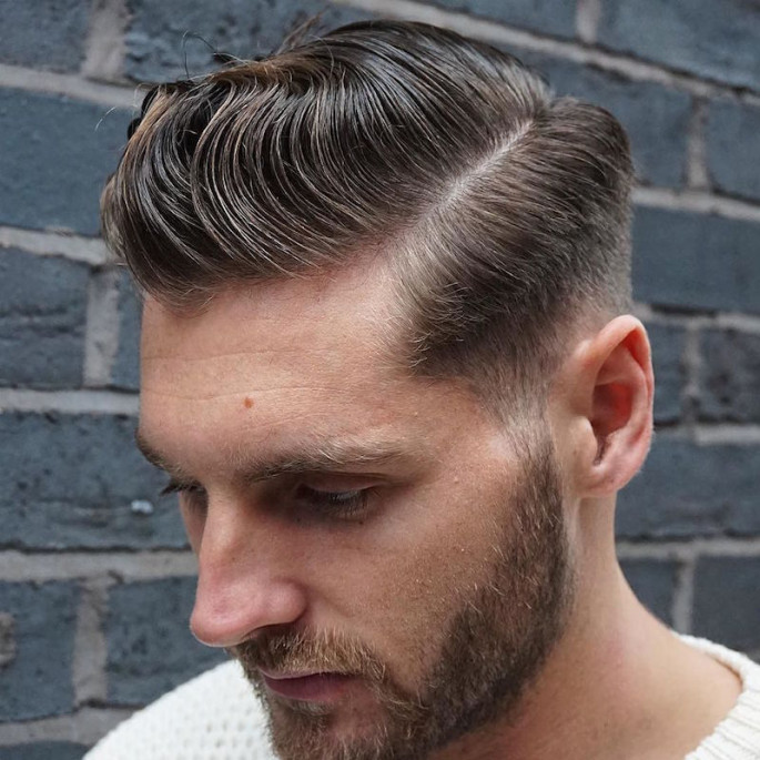 Classic Side Part with High Bald Fade Short Hairstyles for Men
