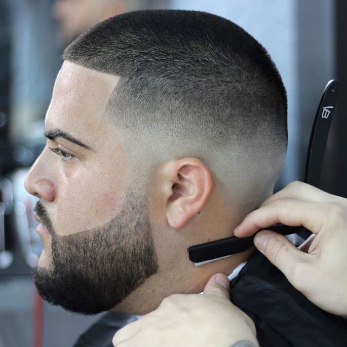 Buzz Cut With Skin Fade & Beard Short Hairstyles for Men