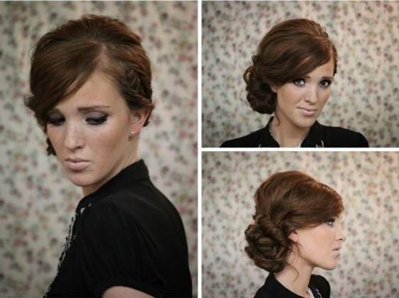 Twisted Side Bun Hairstyles For Short Hair-Medium Length Hair