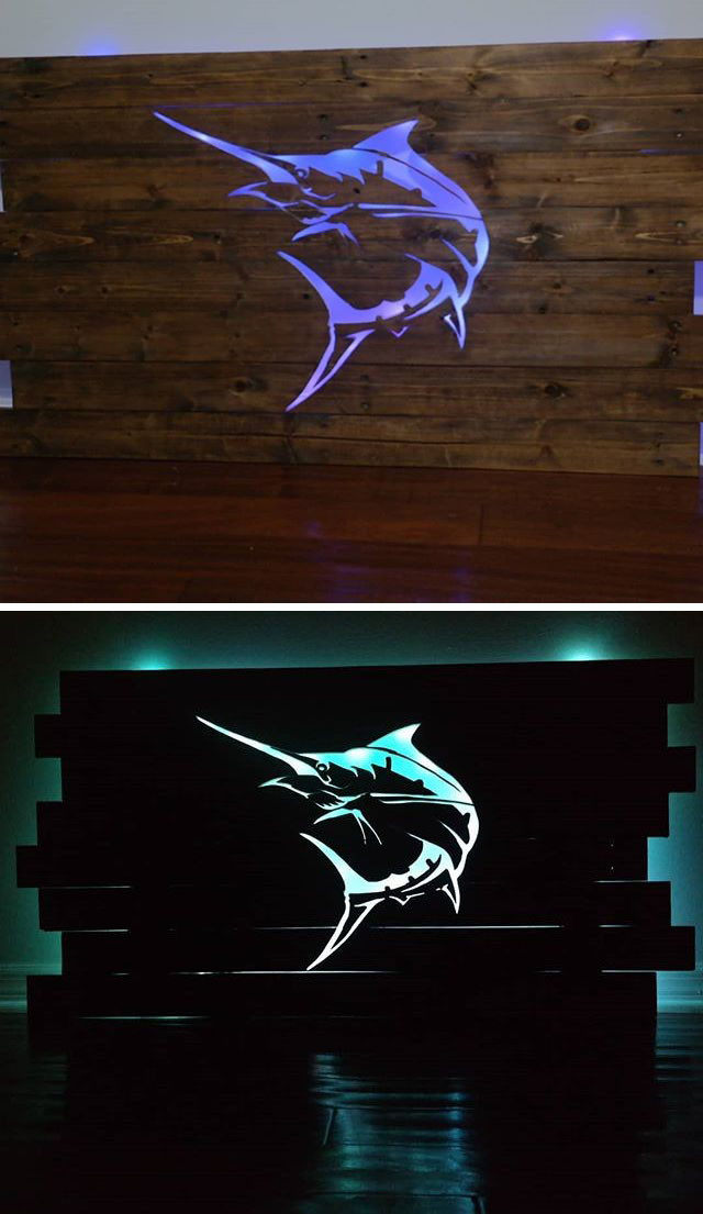 Pallet glowing fish wall art projects