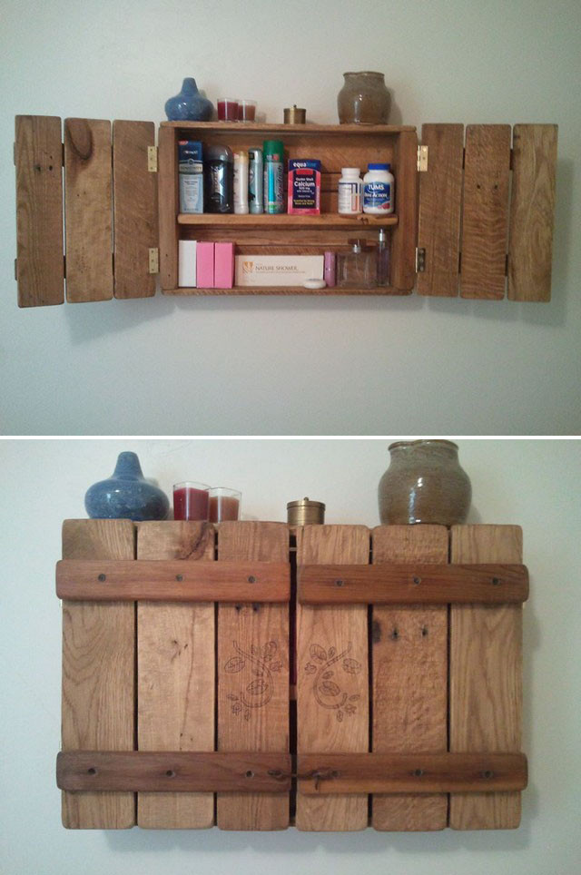 Pallet storage wall shelf ideas