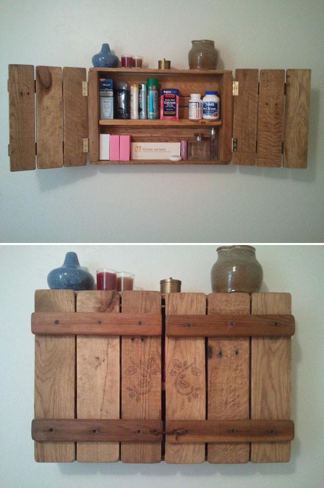 Pallet storage wall shelf ideas