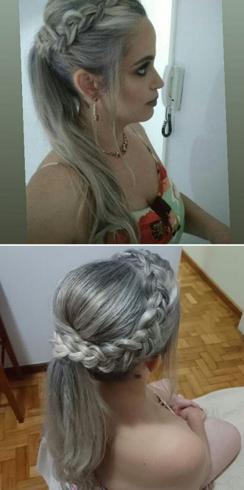 Side pose Long Braided hairstyles