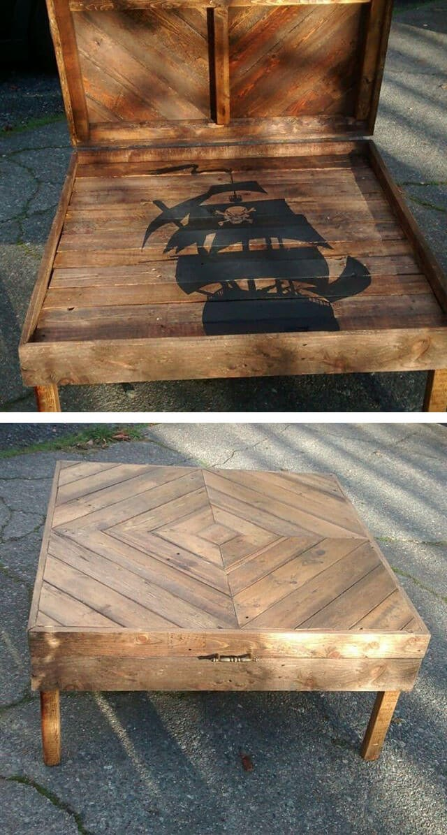 pallet table project ideas with storage