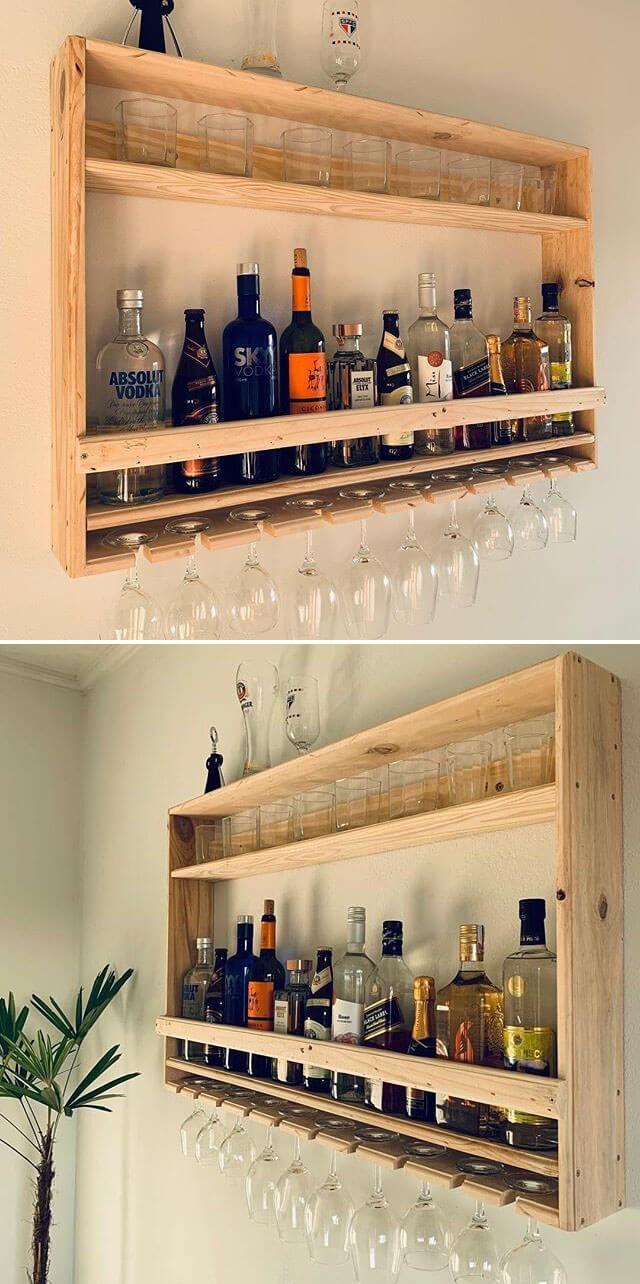 pallet wall wine shelf ideas