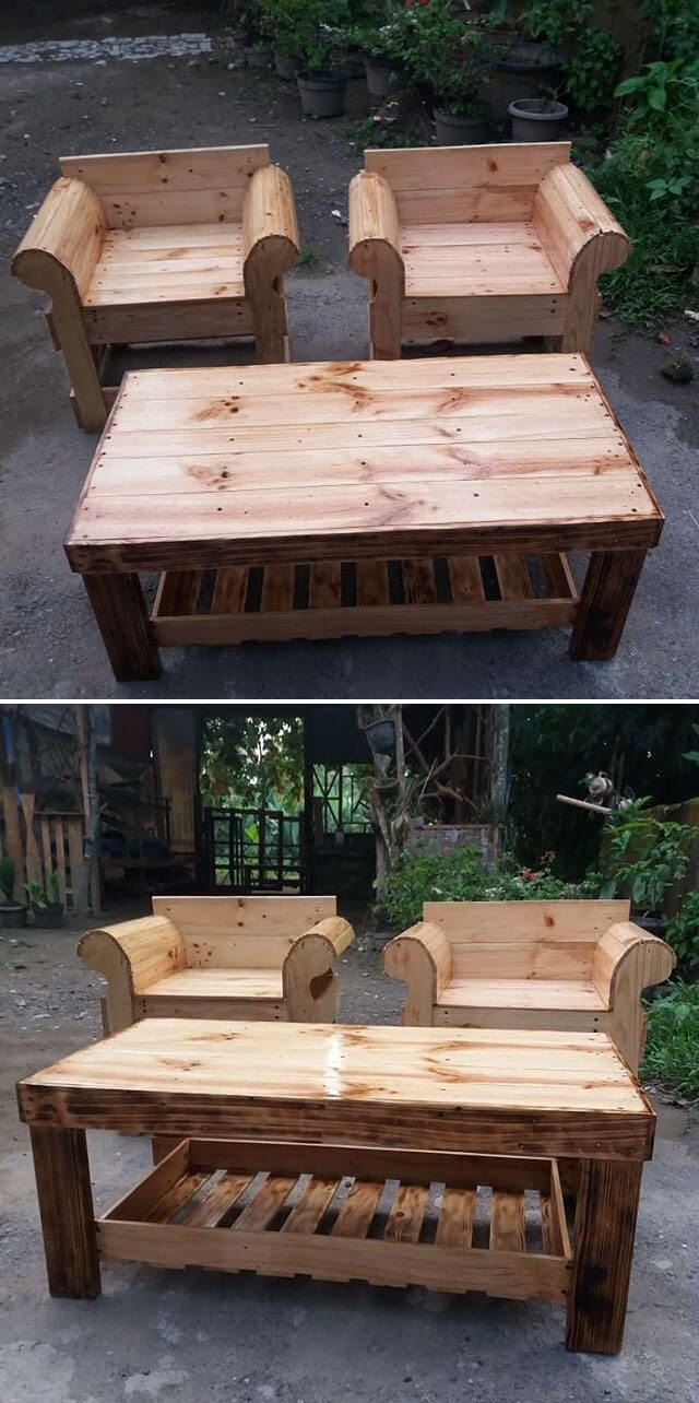 pallet chair ideas with table