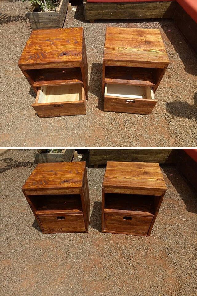 pallet table with drawer ideas