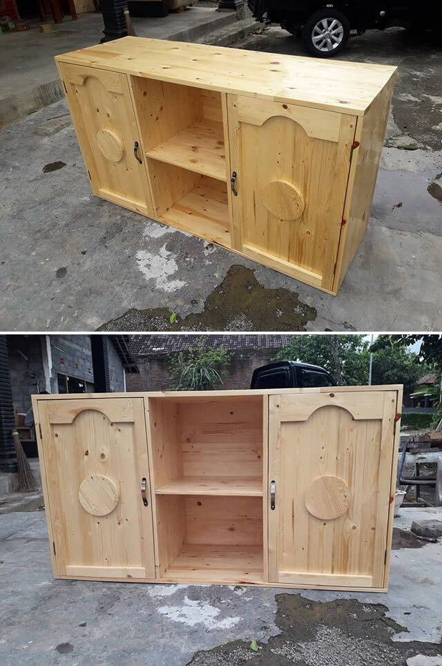 pallet side table with cabinets