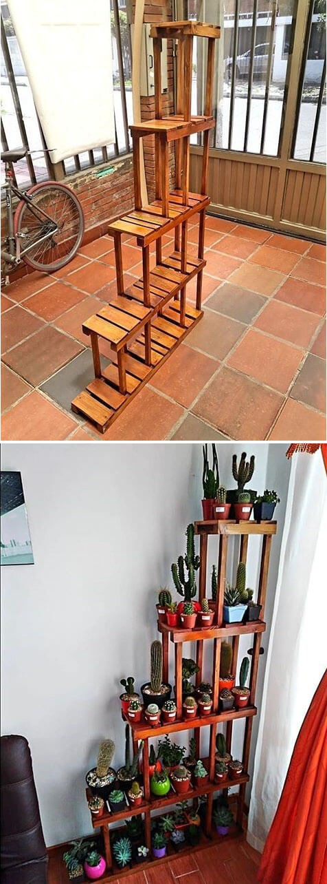 One level up pallet shelves ideas