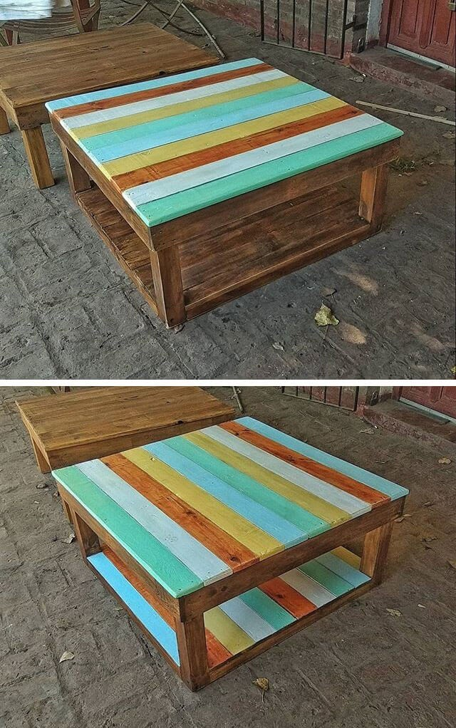 One level up pallet colored table ideas