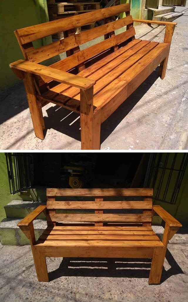 Coffe color pallet bench ideas for outdoor