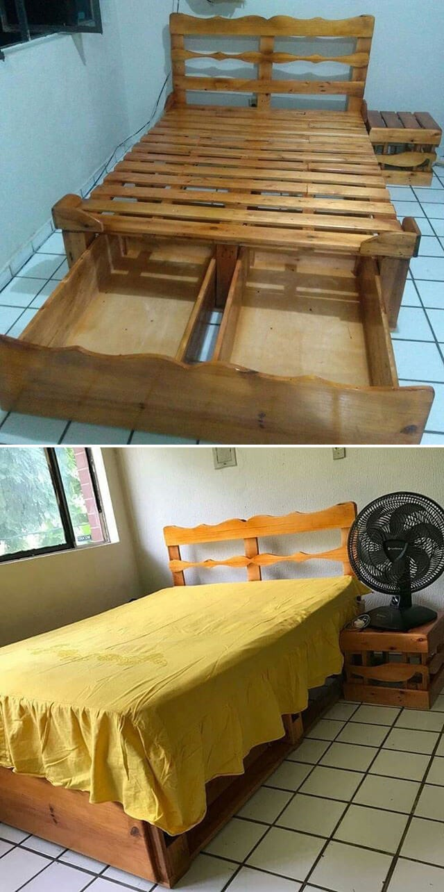 One level up pallet bed frame ideas