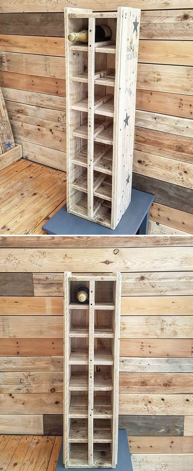 One level up pallet indoor wine shelf ideas