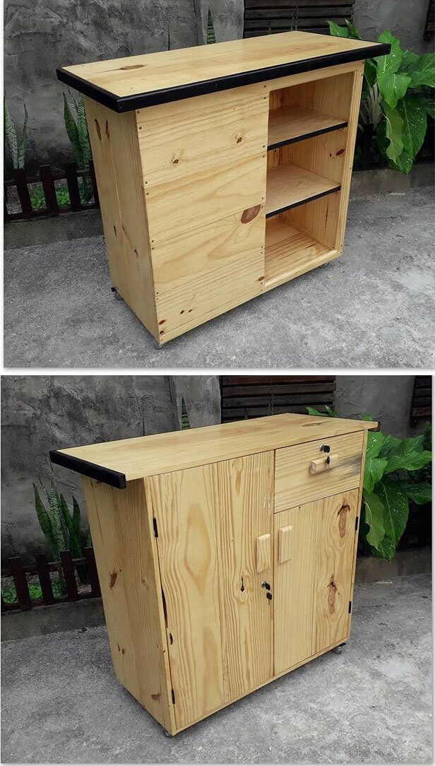 One level up pallet side table with cabinets