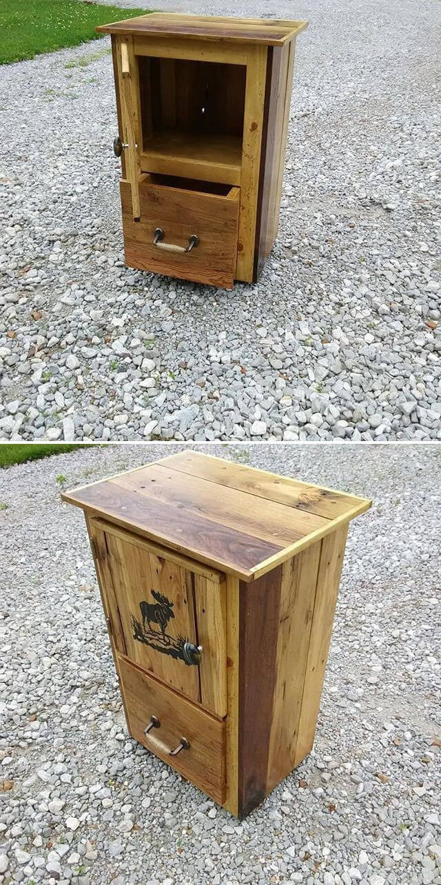 One level up pallet side table with drawers