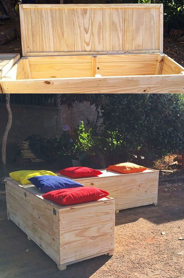 Awesome pallet storage benches ideas