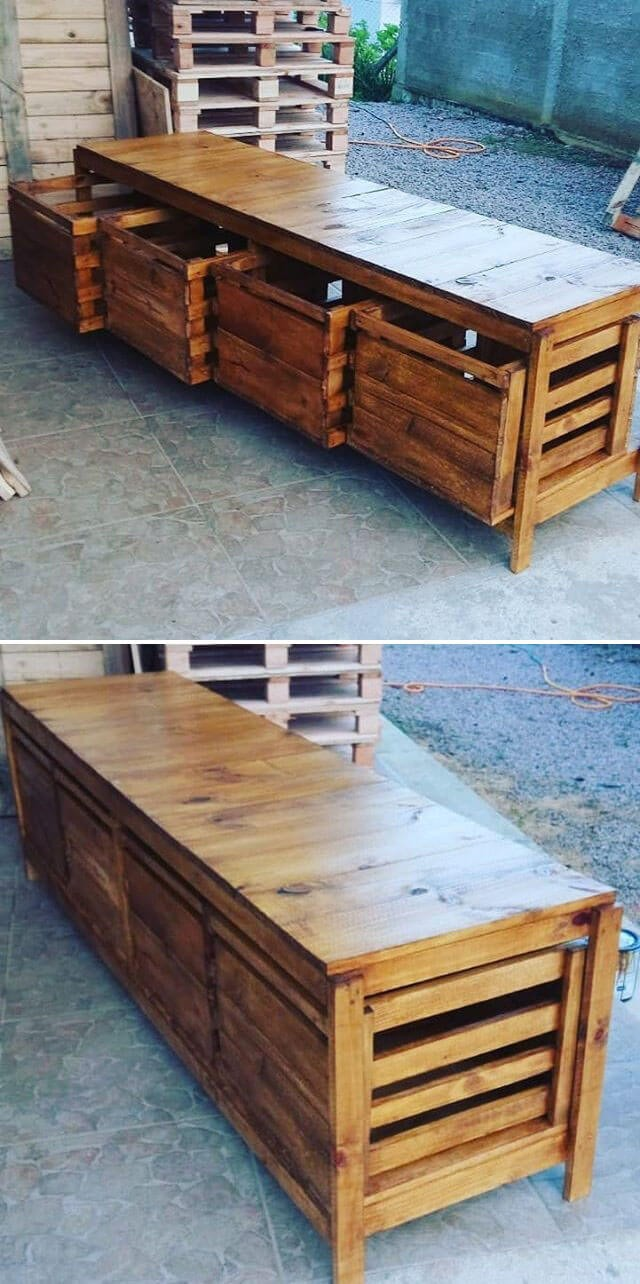 pallet tv stand with storage cabinets
