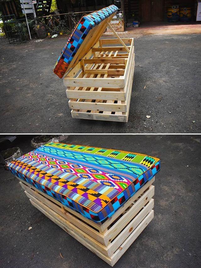colored pallet storage softa ideas