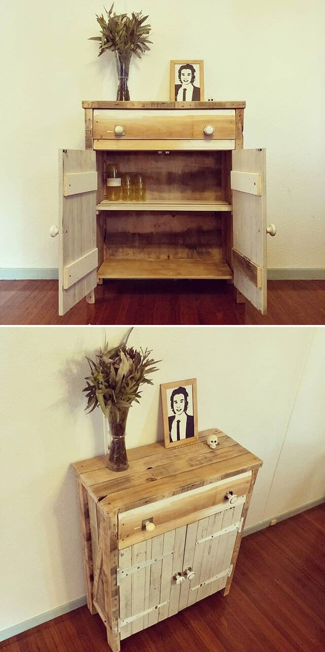 Unique pallet side table with cabinets