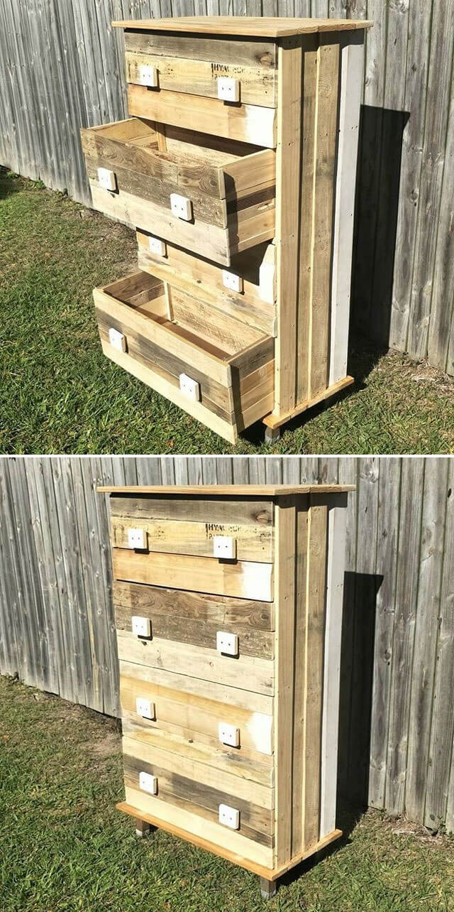 Classy pallet cabinet with drawer project ideas