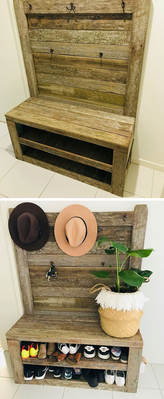 Shoe rack with back,added hooks for hats and keys
