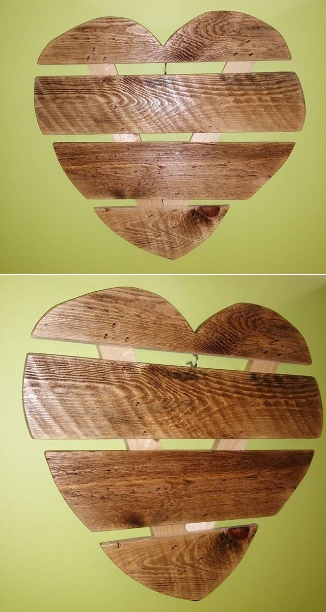 wooden pallet heart shelf