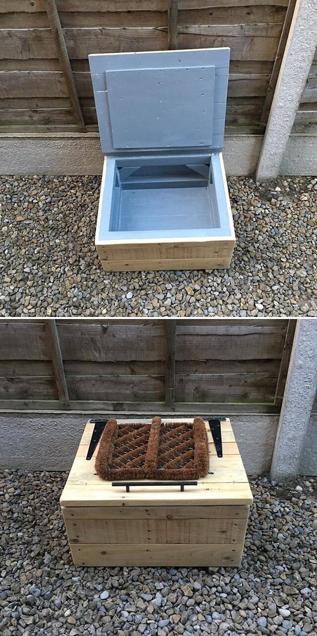 pallet ideas with storage box