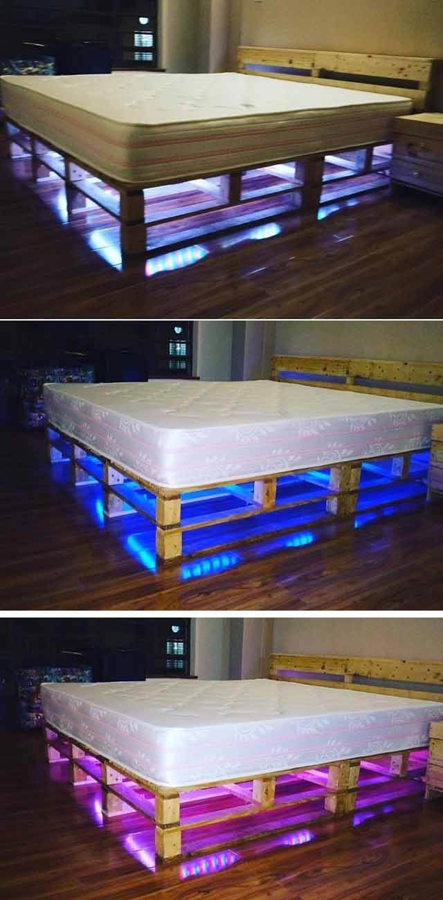 beautiful pallet bed with hidden lights