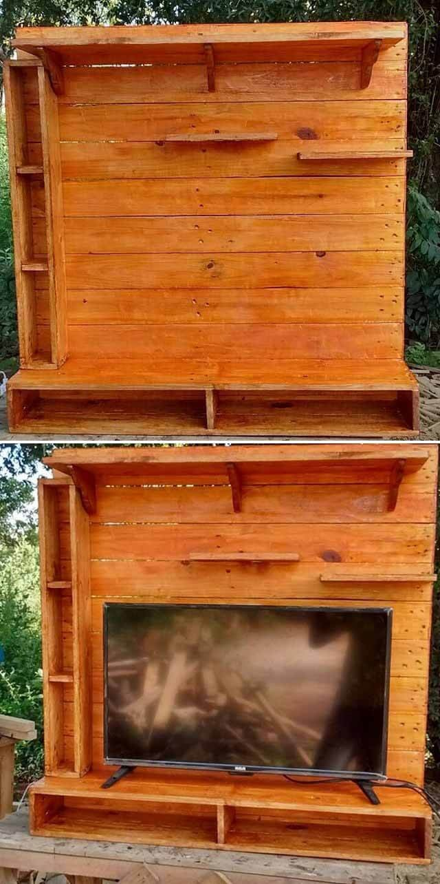pallet walls tv shelves ideas