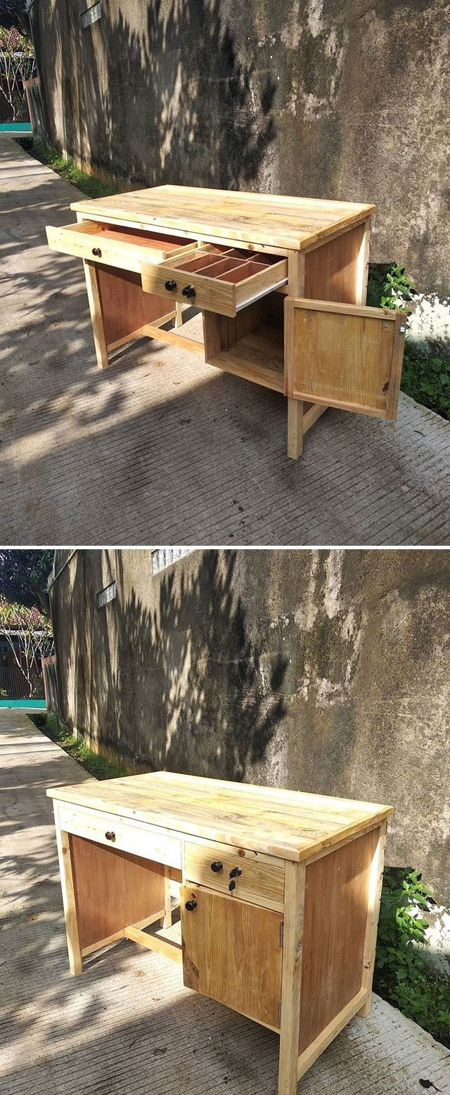 Pallet table furniture with storage space