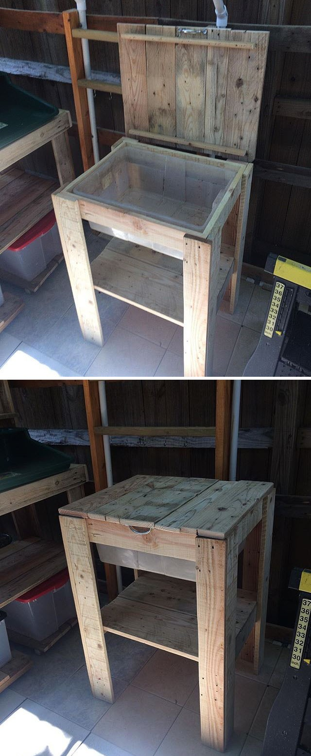 Pallet table with storage space
