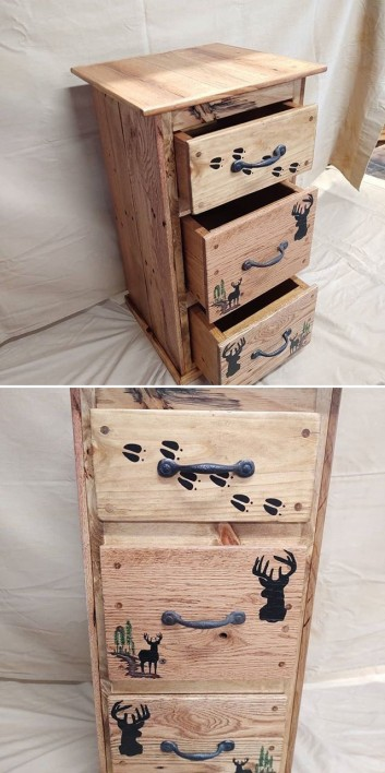 Pallet table with storage drawers ideas