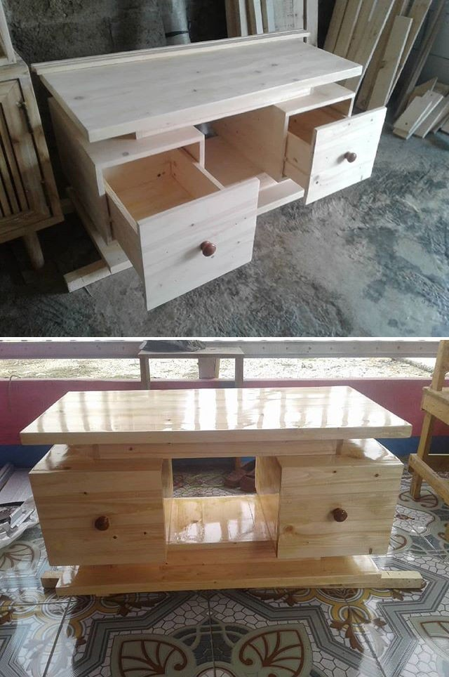 Pallet tv stand with storage drawers ideas