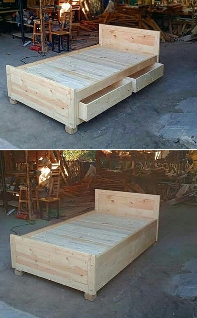 Pallet bed with storage drawers furniture ideas